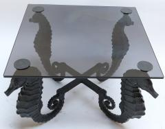 Pair of Iron Seahorse Side Tables with Smoked Glass Tops - 461530