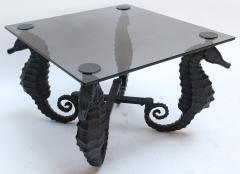 Pair of Iron Seahorse Side Tables with Smoked Glass Tops - 461533