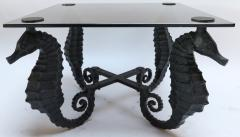 Pair of Iron Seahorse Side Tables with Smoked Glass Tops - 461534
