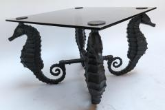 Pair of Iron Seahorse Side Tables with Smoked Glass Tops - 461535
