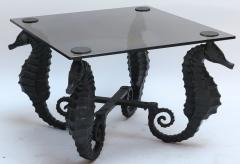Pair of Iron Seahorse Side Tables with Smoked Glass Tops - 461536