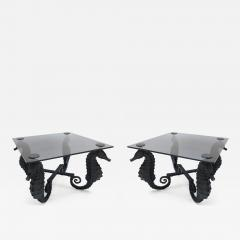 Pair of Iron Seahorse Side Tables with Smoked Glass Tops - 462504