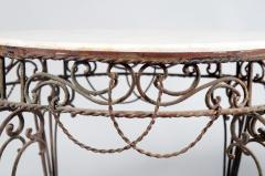 Pair of Iron Tables with Marble Tops - 351376