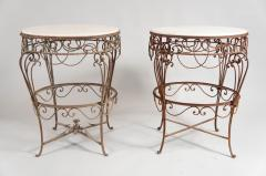 Pair of Iron Tables with Marble Tops - 351377