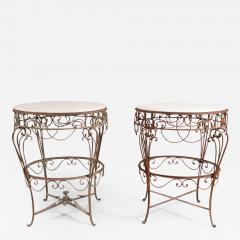 Pair of Iron Tables with Marble Tops - 351597