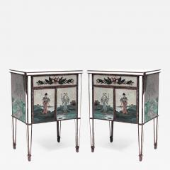 Pair of Italian 1940s Mirrored Bedside Commodes - 742058