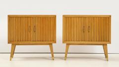 Pair of Italian 1950s Oak Nightstands with Black Glass Tops - 1813432