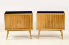 Pair of Italian 1950s Oak Nightstands with Black Glass Tops - 1813435