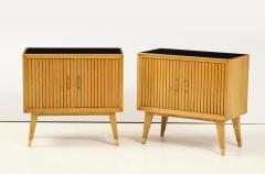 Pair of Italian 1950s Oak Nightstands with Black Glass Tops - 1813437