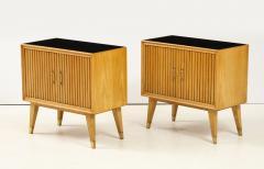 Pair of Italian 1950s Oak Nightstands with Black Glass Tops - 1813443