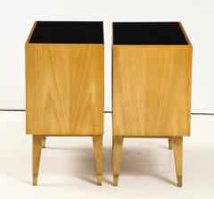 Pair of Italian 1950s Oak Nightstands with Black Glass Tops - 1813449