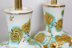 Pair of Italian 1950s Painted Porcelain Lamps for Marbro Lamp Co Los Angeles - 1974532