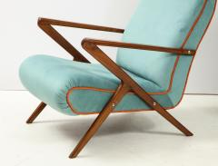 Pair of Italian 1950s Sculptural Walnut Upholstered Lounge Chairs - 1812280