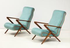 Pair of Italian 1950s Sculptural Walnut Upholstered Lounge Chairs - 1812281