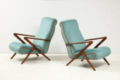 Pair of Italian 1950s Sculptural Walnut Upholstered Lounge Chairs - 1812283