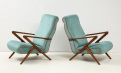 Pair of Italian 1950s Sculptural Walnut Upholstered Lounge Chairs - 1812284