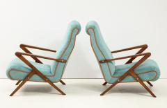 Pair of Italian 1950s Sculptural Walnut Upholstered Lounge Chairs - 1812285