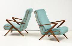 Pair of Italian 1950s Sculptural Walnut Upholstered Lounge Chairs - 1812286