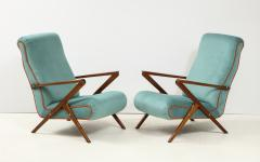 Pair of Italian 1950s Sculptural Walnut Upholstered Lounge Chairs - 1812287