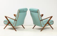 Pair of Italian 1950s Sculptural Walnut Upholstered Lounge Chairs - 1812288