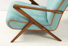 Pair of Italian 1950s Sculptural Walnut Upholstered Lounge Chairs - 1812289