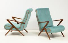 Pair of Italian 1950s Sculptural Walnut Upholstered Lounge Chairs - 1812290