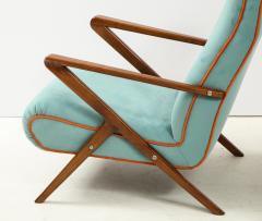 Pair of Italian 1950s Sculptural Walnut Upholstered Lounge Chairs - 1812291