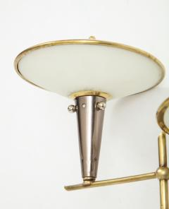 Pair of Italian 1950s Wall Sconces with Glass Shades - 1833456