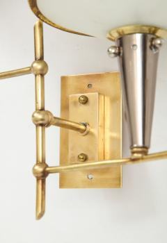 Pair of Italian 1950s Wall Sconces with Glass Shades - 1833457