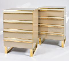 Pair of Italian 1960s caramel glass chest of drawers bedsides - 1279861