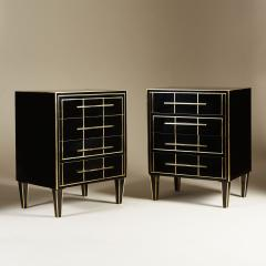 Pair of Italian 1970s black glass chest of drawers - 2013960