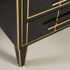 Pair of Italian 1970s black glass chest of drawers - 2013962