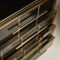 Pair of Italian 1970s black glass chest of drawers - 2013964