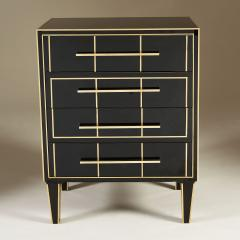 Pair of Italian 1970s black glass chest of drawers - 2013965