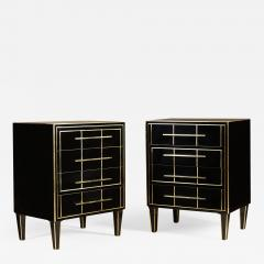 Pair of Italian 1970s black glass chest of drawers - 2015823