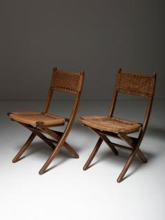 Pair of Italian 60s Folding Cord Chairs - 1198989