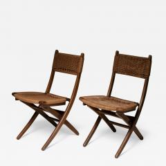 Pair of Italian 60s Folding Cord Chairs - 1200893