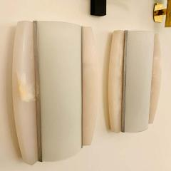 Pair of Italian Alabaster 1960s Space Age Wall Lamps - 1626079