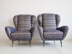 Pair of Italian Armchairs with Slim Brass Feet - 1234462