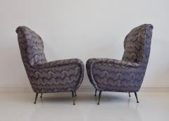 Pair of Italian Armchairs with Slim Brass Feet - 1234464