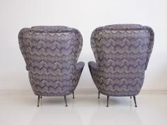 Pair of Italian Armchairs with Slim Brass Feet - 1234465