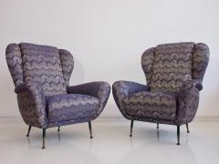 Pair of Italian Armchairs with Slim Brass Feet - 1234466