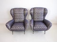 Pair of Italian Armchairs with Slim Brass Feet - 1234467
