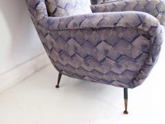 Pair of Italian Armchairs with Slim Brass Feet - 1234468
