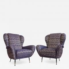 Pair of Italian Armchairs with Slim Brass Feet - 1234717