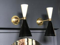 Pair of Italian Black and white Brass Sconces 1960s - 1466923