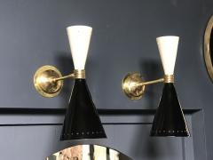 Pair of Italian Black and white Brass Sconces 1960s - 1466924