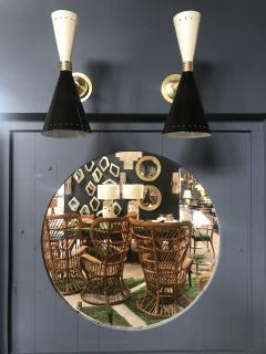 Pair of Italian Black and white Brass Sconces 1960s - 1466928