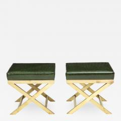 Pair of Italian Brass X Benches - 1100915