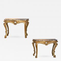 Pair of Italian Breccia Marble Top Giltwood Consoles - 444120